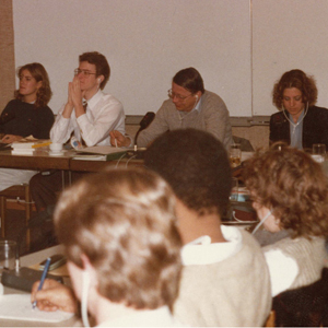 Exchanging views with German Youth Council leaders regarding the divisive issue of US nuclear weapons in Europe, 1985.